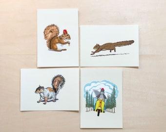 Squirrel Bundle #2, 5x7 art prints Animal Illustration, home wall decor
