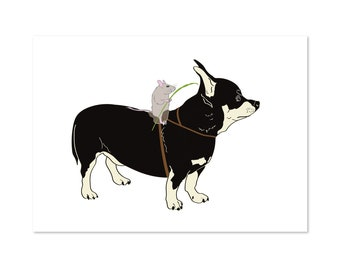 Mouse Rider, Chihuahua dog and Mouse art print 5x7 Animal Illustration, home wall decor