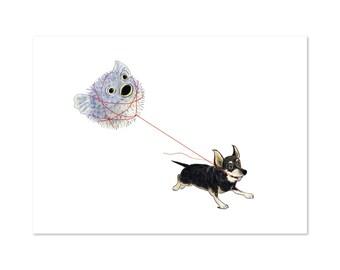 Pufferpup, Chihuahua Pufferfish art print 5x7 Animal Illustration, home wall decor