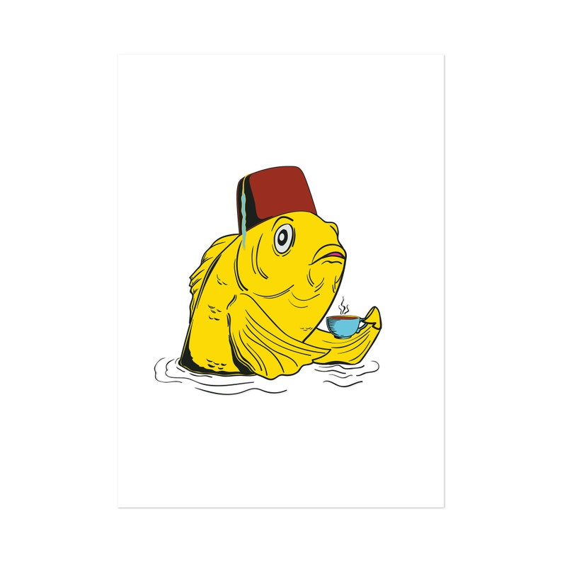 Fez Fish Bright White art print 5x7 Animal Illustration image 0