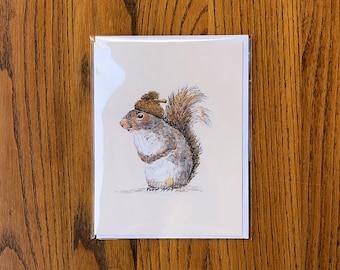 Acorn Hat Squirrel Card, squirrel art stationery