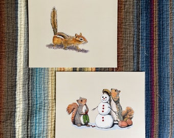 8x10 Print Pair, Curious Chipmunk and Holiday Trimmings, squirrels and snowman, 8x10 art prints