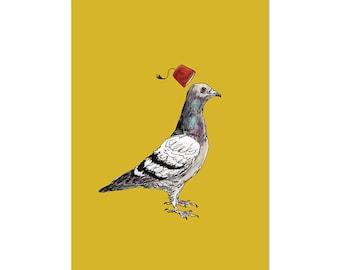 Unflappable Pigeon, fez bird art print 5x7 Animal Watercolor Illustration, home wall decor