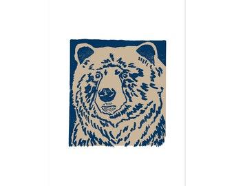 Blue Bear, art print 5x7 Animal Illustration, home wall decor