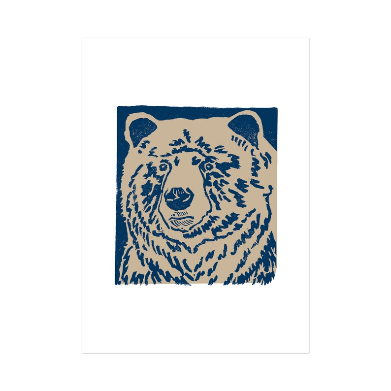 Blue Bear art print 5x7 Animal Illustration home wall decor image 0