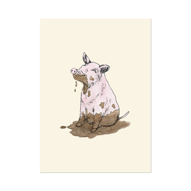 Filthy Pig art print 5x7 Whimsical Animal Watercolor image 0