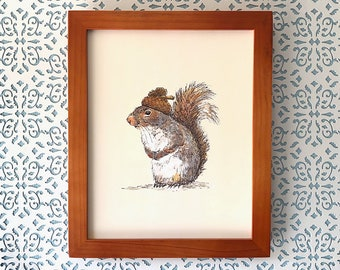 Squirrel with an Acorn Hat, art print 8x10 Animal Watercolor Illustration, home wall decor