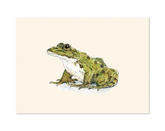 Frog art print 5x7 Animal Watercolor Illustration, home wall decor