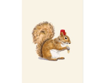 Fez Hat Squirrel, art print 5x7 Animal Illustration, home wall decor