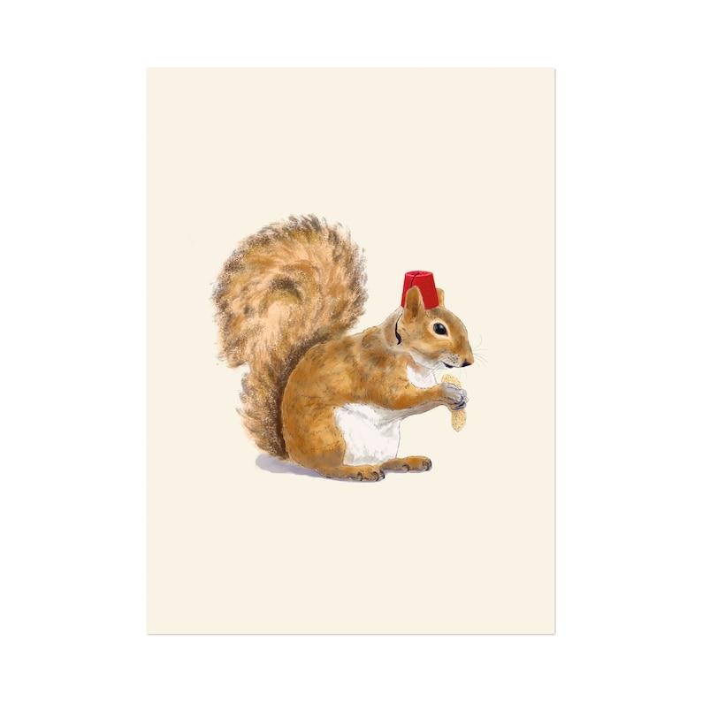 Fez Hat Squirrel art print 5x7 Animal Illustration home wall image 0