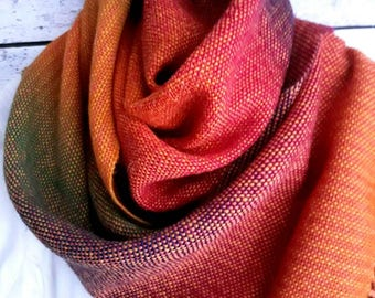 Rainbow scarf - ginger - wool scarf - handwoven scarf - orange scarf - warm scarf - gift for her - gift for mom - friend gift - green scarf