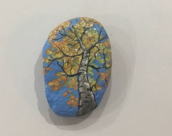 I think that I shall never see, a poem as lovely as a tree.  Beautifully painted rock magnet of an aspen, resplendant  in fall colors.