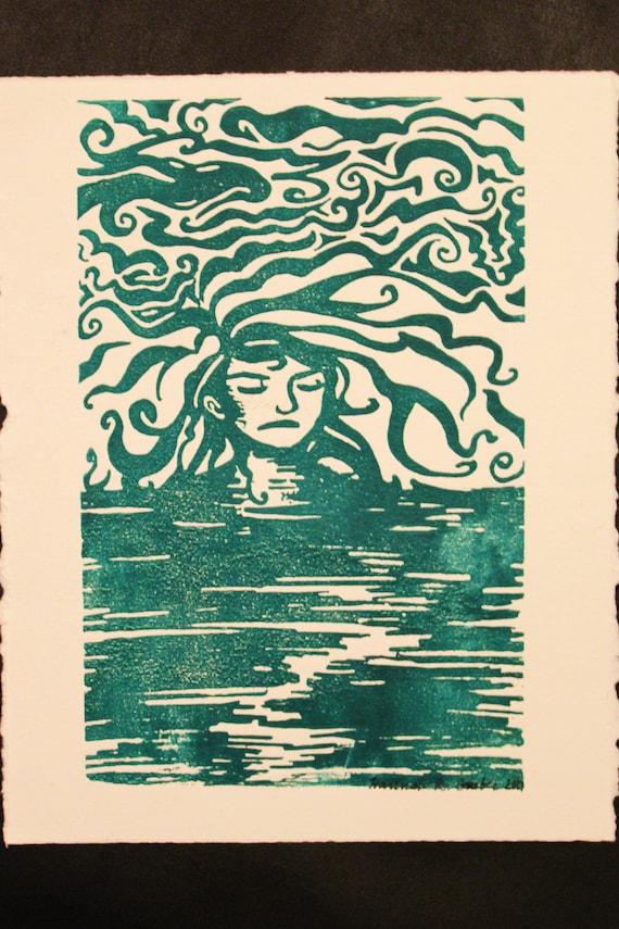 Green Nude Mermaid Linocut Wall Art Print