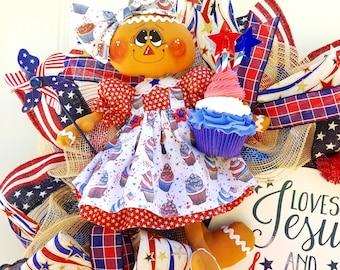4th of July Wreath, Patriotic Wreath, Fourth of July Wreath, Whimsical Patriotic Wreath, Red White and Blue Wreath