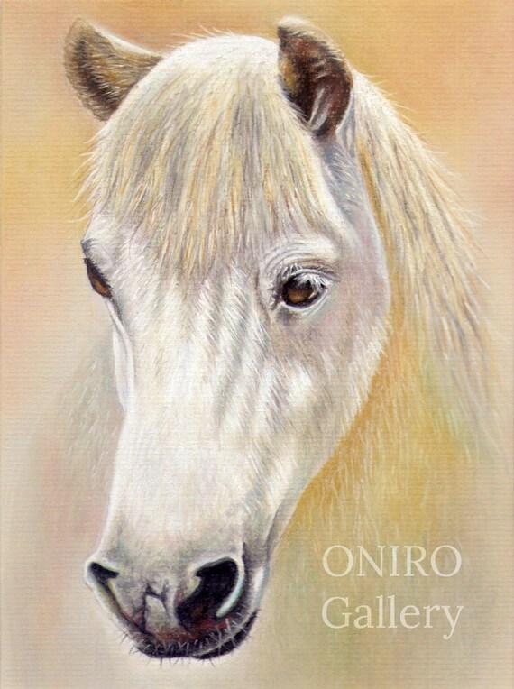 Biały Obraz Konia Print Prezenty Konia Sztuka ściana Konia Etsy