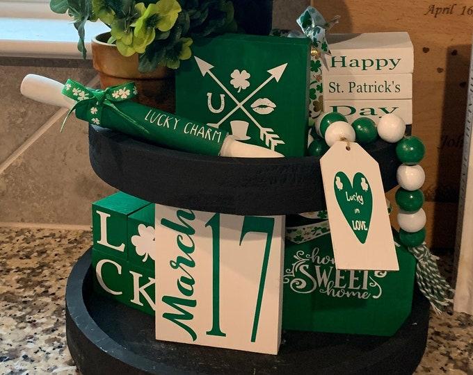St. Patrick's Day Tiered Tray Decor Bundle| Mini Book Stack|Mini Signs|Mini Rolling Pin|Mini Home Sign|Mini Blocks|Bead Garland
