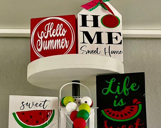 Summer Tiered Tray Decor| Hello Summer| Home Sweet Home| Life is Sweet| Sweet Summer| 2 Tier Bundle