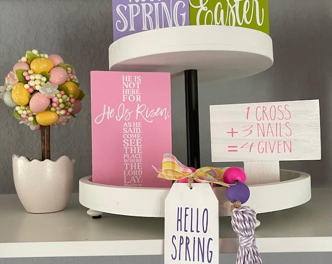 Easter 2 Tiered Tray Decor Bundle|Mini Wood Signs|Mini Garland