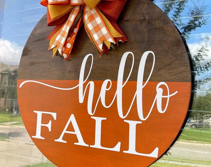 hello Fall Front Door Decor| Front Door Wreath | Wood Wreath| Wood Sign | Door Hanger
