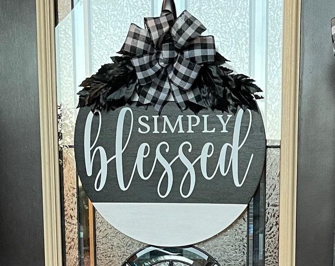 Simply Blessed Fall Front Door Decor| Front Door Wreath | Wood Wreath| Wood Sign | Door Hanger