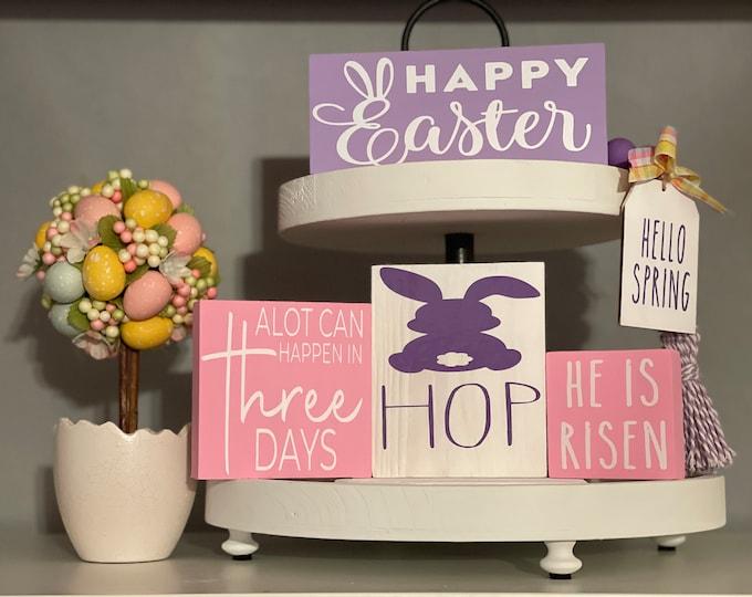 Easter 2 Tiered Tray Decor Bundle|Mini Signs|Mini Garland