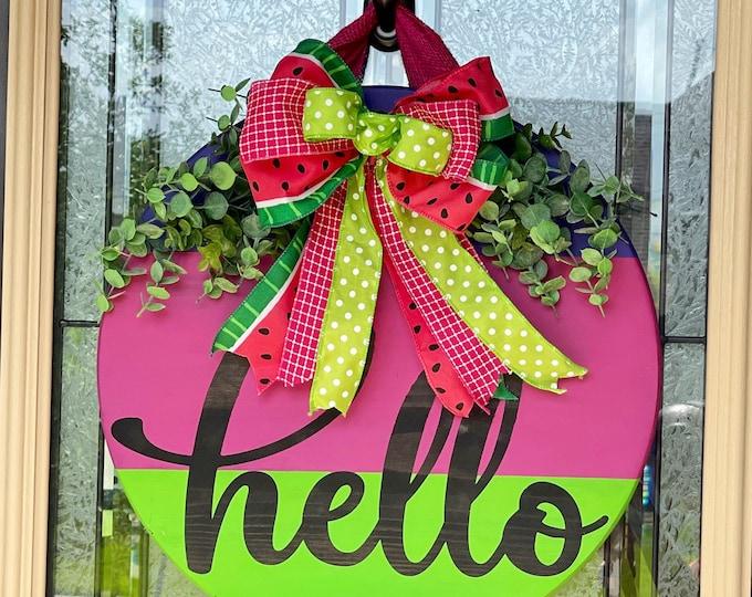 Summer| Front Door Decor| Front Door Wreath | Hello| Wood Sign | Door Hanger
