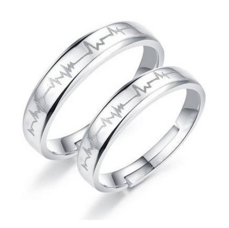 4762ec7920 FREE SHIPPING Heartbeat Sterling Silver Ring Couple Rings Best   Etsy