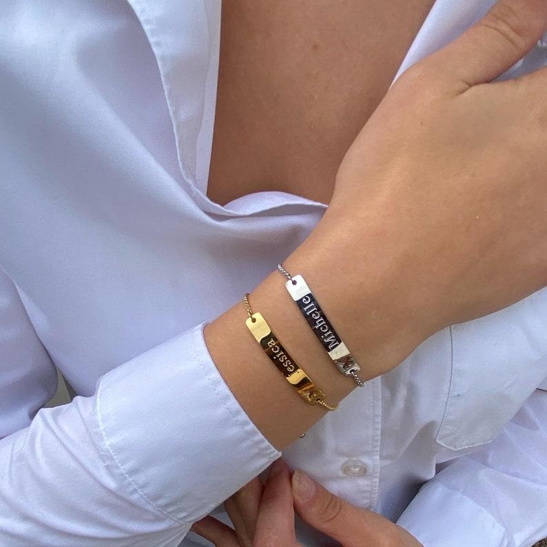 Custom Bracelet Bar Name Bracelet Gift For Her Engraved Bar Name Bracelet Handwriting Name Personalized Name Bracelet