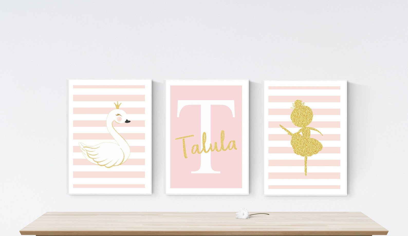 set of 3 ballet ballerina swan prints | personalised name | modern pink & white girl's room | faux glitter | nursery baby pi