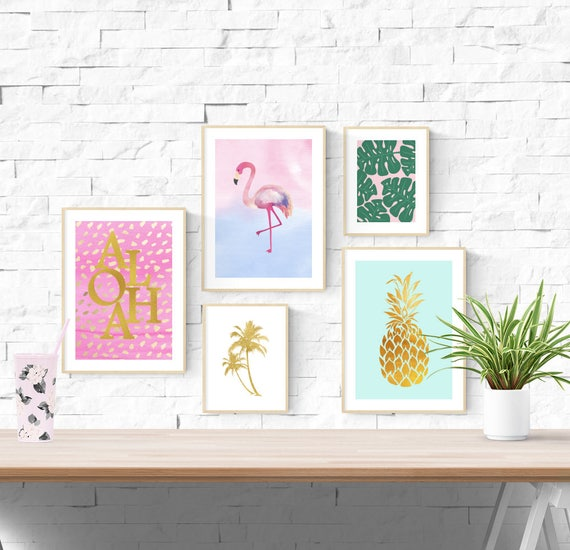 5 Tropical Prints Flamingo Pineapple Palm Tree Leaves Nursery Wall Art Pictures