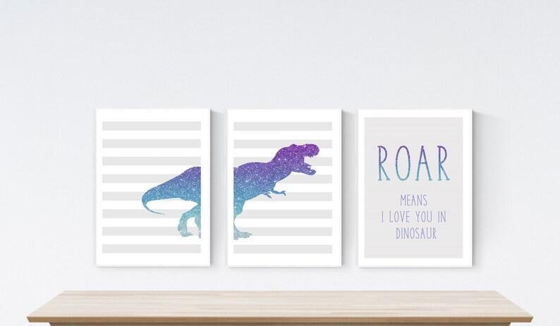 Nursery Prints Personalised Name Set of 3 prints Dinosaur Boy Girl Roar