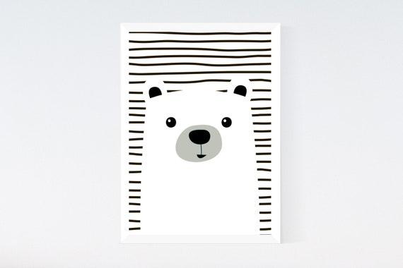 Kids Bear Black /& White Modern Nursery Children/'s Room Print Wall Art Picture