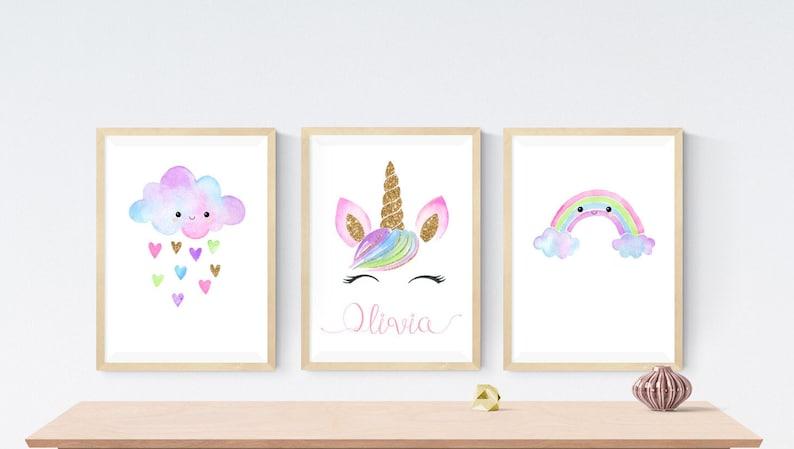 3 Personalised Rainbow Unicorn Prints Modern Nursery Room Wall Art Pictures