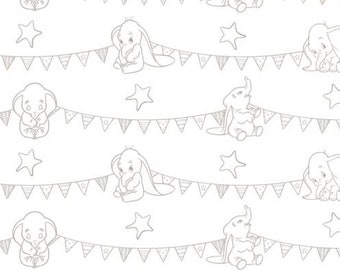 """ETSY BIRTHDAY SALE  Dumbo-Bunting Banners-Zinc-Gray-Disney- 43/44"""" 100% Cotton- Fabric by the yard-Camelot Design Studio"""