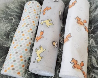 Baby Gift Fox Baby Shower Baby Fox Baby Shower Gender Neutral Baby Shower Woodland Nursery Gift Fox Burp Cloths Contour Burp Cloth Set