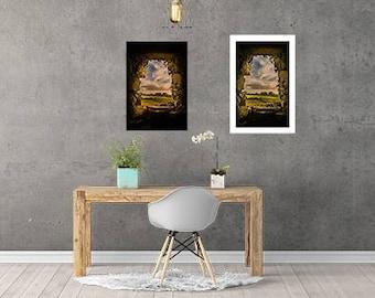 Digital print photograph, window in the castle.