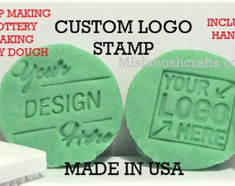Image, Logo, or Custom Font Soap Stamp with handle. Uses:  mica stamp, cookie stamp, pottery, clay, playdough...