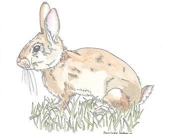Original Rabbit Watercolor Painting
