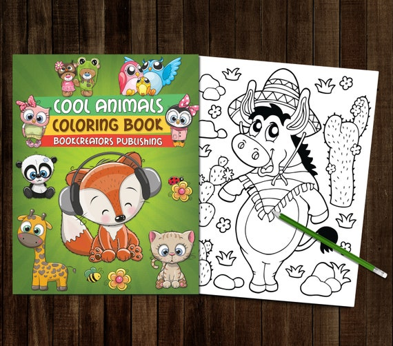 Printable Cool Animals Coloring Book 25 Coloring Pages Pdf Etsy