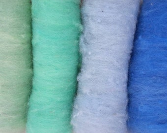British Ryeland Wool Batts, blue green