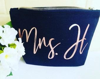 0b722055fa19fa Personalised Make up Bag, Personalised Cosmetics Bag, Mrs Makeup Bag,  Initials Makeup Bag, Wedding Makeup Bag, Bride to be Gift
