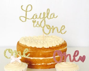 First Birthday Cake Topper Personalised One 1st Gold