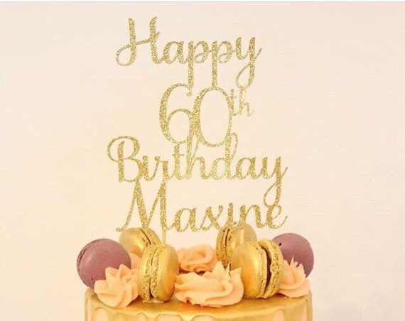 Groovy Happy 60Th Birthday Cake Topper Personalised Cake Topper Etsy Funny Birthday Cards Online Alyptdamsfinfo