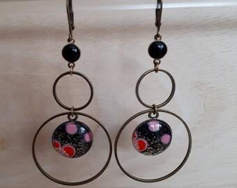 Creole glass cabochon, double black Japanese flowers / bronze