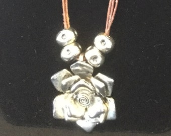 """27"""" silver-plated rose on leather cord"""