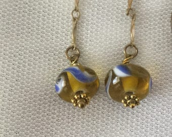 Blue, white, and yellow lampwork glass earrings