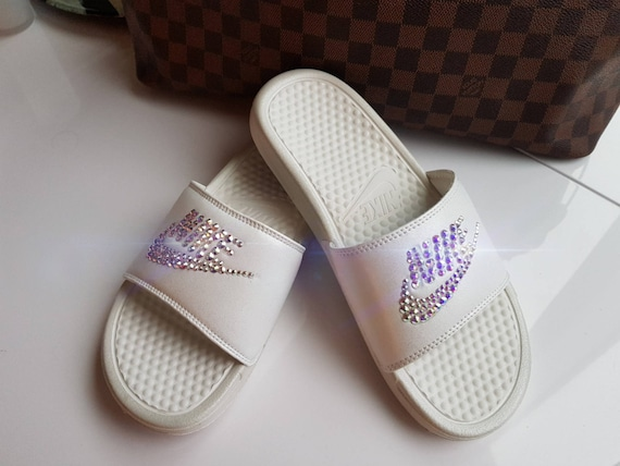 White Nike Benassi Slide sandals made with Swarovski Crystals  6d2dc5ceb