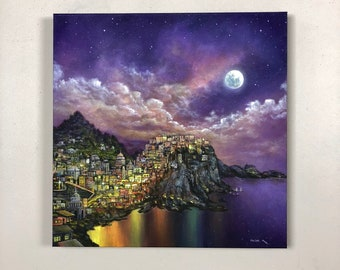 """City On A Hill: Original Acrylic Painting on 20"""" x 20"""" Gallery Canvas"""