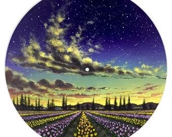 Tulip Town: Original Acrylic Painting on Vinyl Record