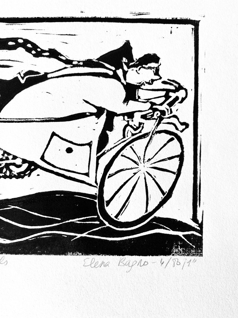 gift Wall art for home and office linocut hand printed etching - Speeding towards the goal Black and white motivating art